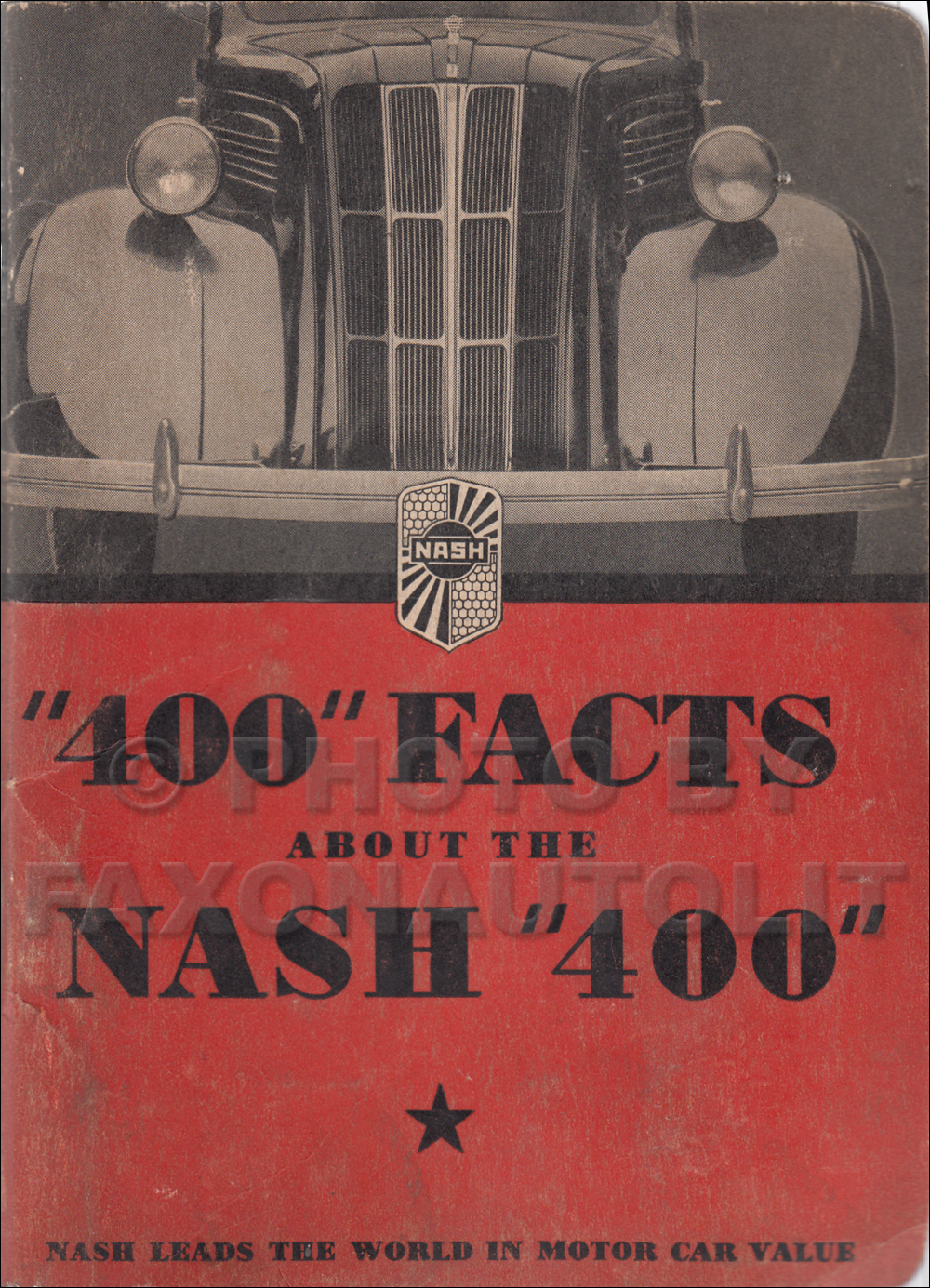 1936 Nash 400 Facts Book Original