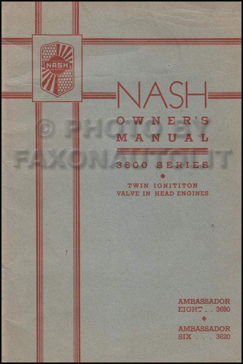 1936 Nash Ambassador Owner's Manual Original