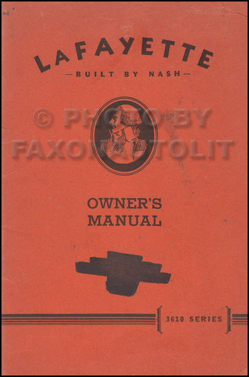 1936 Nash LaFayette first series Owner's Manual Original