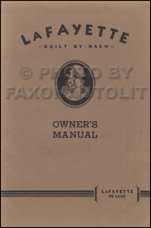 1936 Nash LaFayette DeLuxe Owner's Manual Original second series