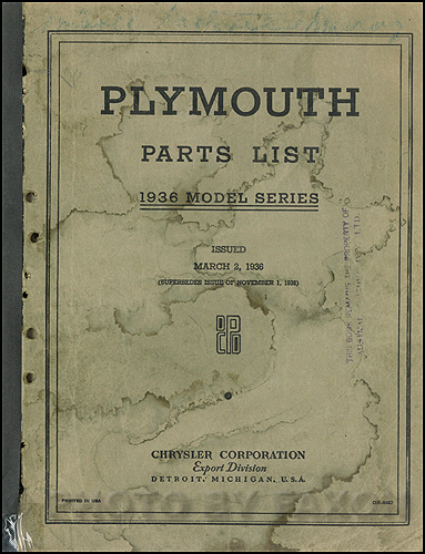 1936 Plymouth Export Parts Book Original