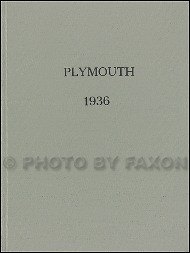1936 Plymouth Parts Book Original