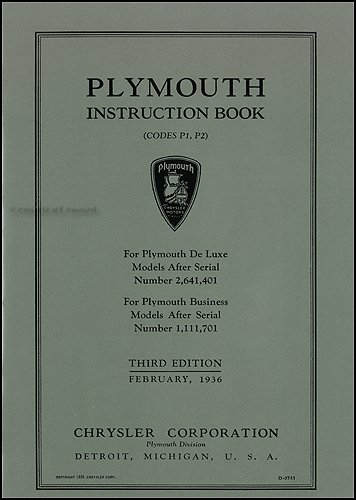 1936 Plymouth Owners Manual Reprint