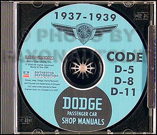 1937 1938 Dodge Car Shop Repair Manual on CD-ROM