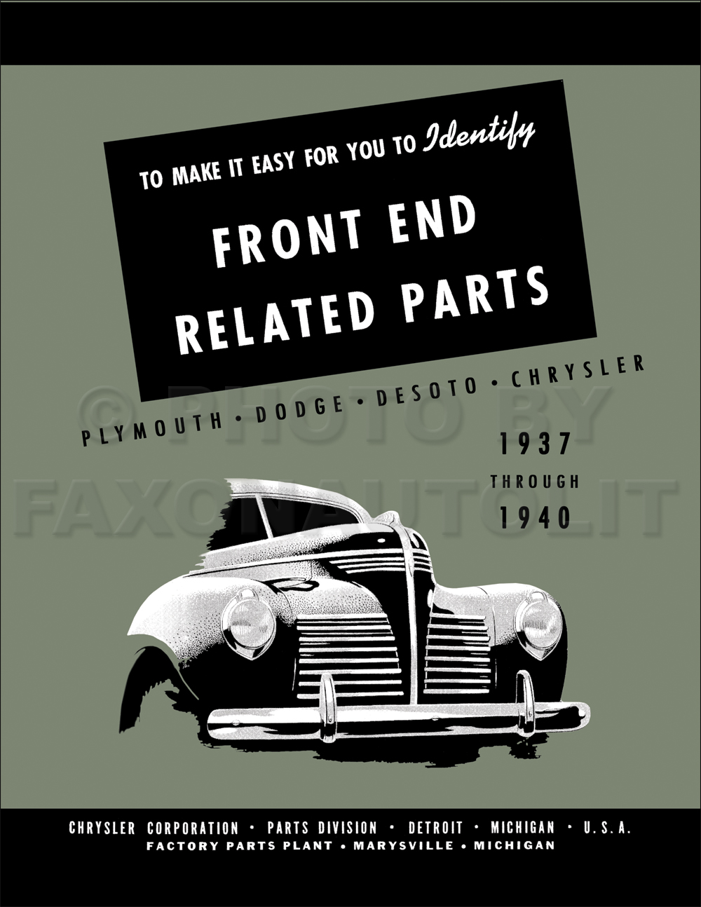 1937-1940 MoPar Front End Body Parts Book Reprint