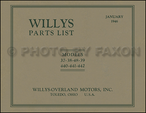 1937-1942 Willys Parts Book Reprint
