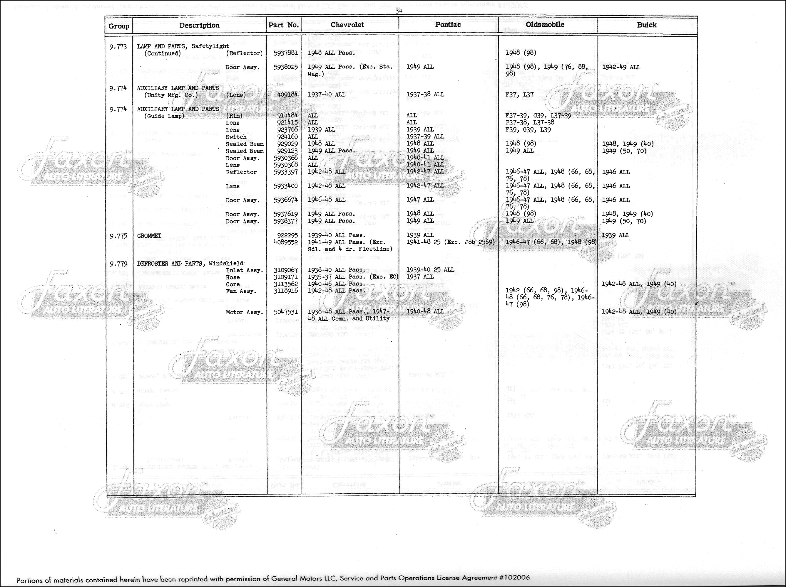 1937 1949 Chevrolet Gm Parts Interchange Book Reprint Chevy Truck Sample Page