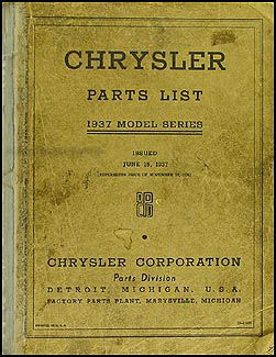 1937 Chrysler Parts Book Original