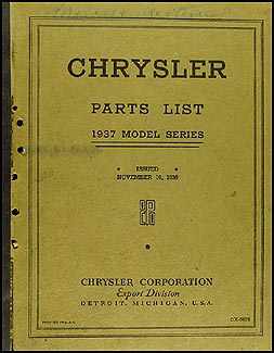 1937 Chrysler Original Parts Book for Exported Models