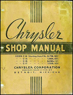 1937 Chrysler Shop Manual Original