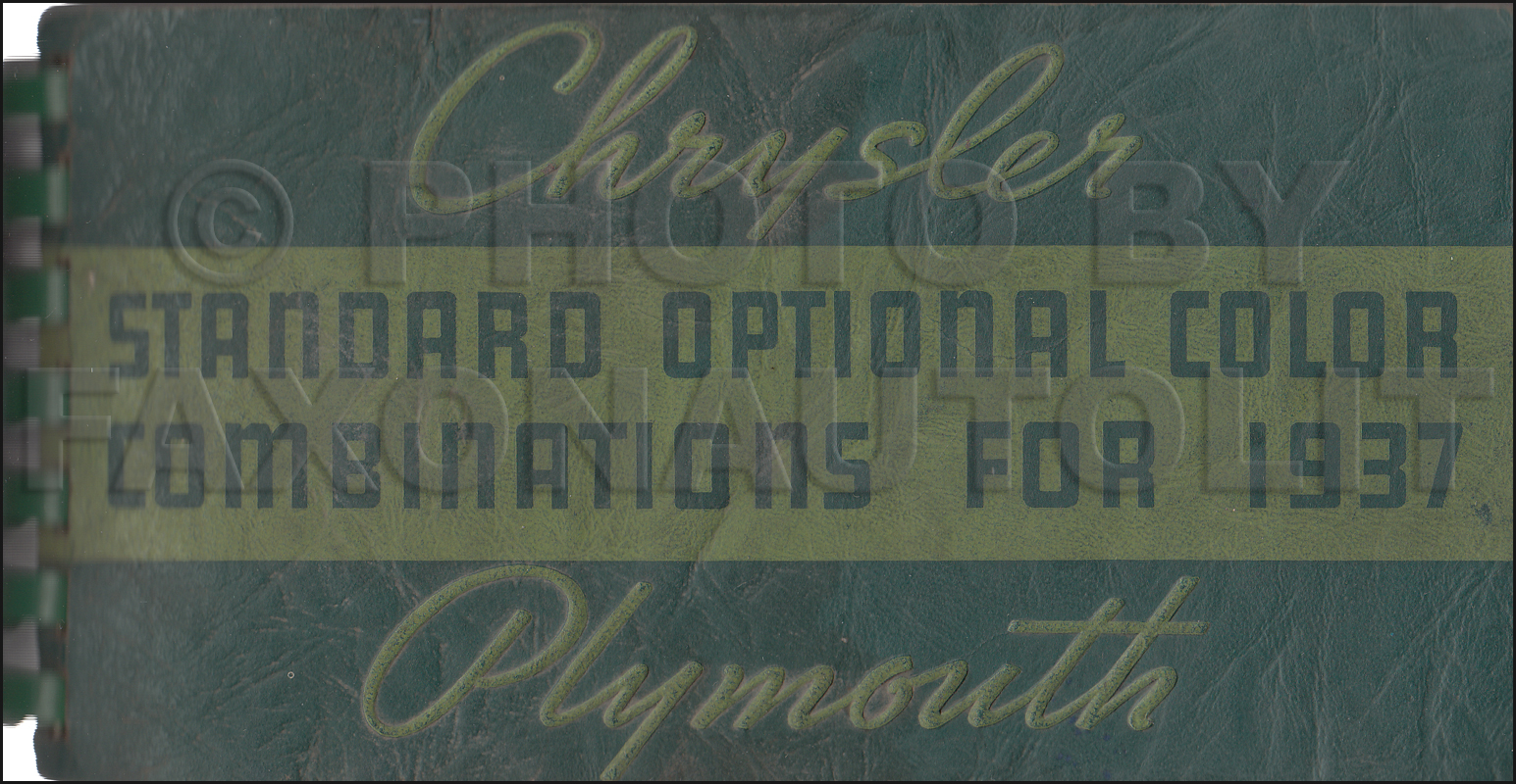 1937 Chrysler Plymouth Paint Chip Dealer Album Original