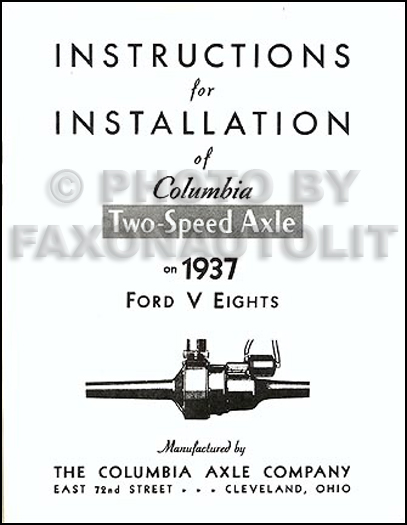 1937-1938 Ford Columbia Reprint Overdrive Axle Manual 4-Piece Set
