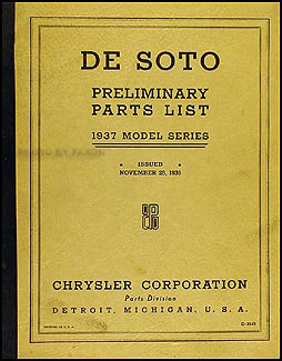 1937 De Soto Preliminary Parts Book Original