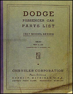 1937 Dodge Car Parts Book Original