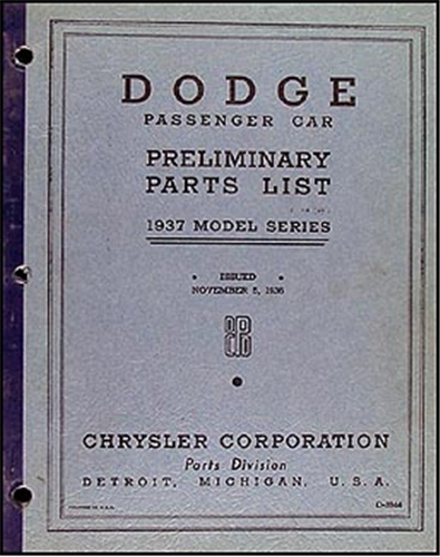 1937 Dodge Car Preliminary Parts Book Original