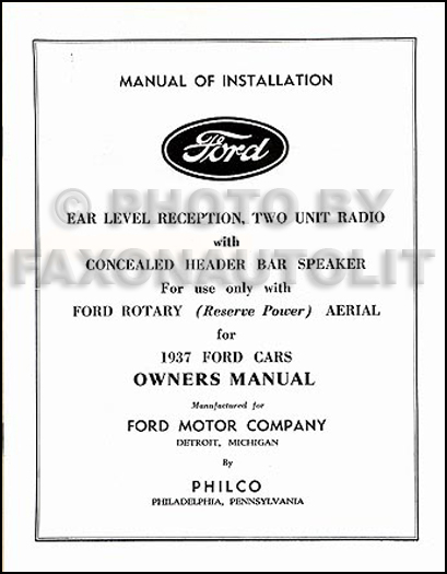 1937 Ford Radio Installation & Owner's Manual Reprint