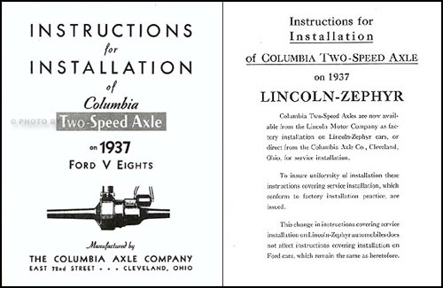1937 Lincoln-Zephyr 2-Speed Columbia Axle Manual Reprint Set of 5
