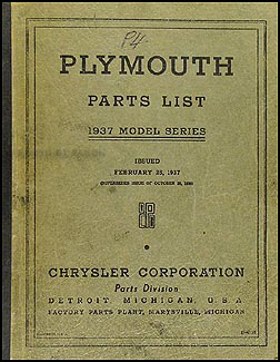1937 Plymouth Parts Book Original