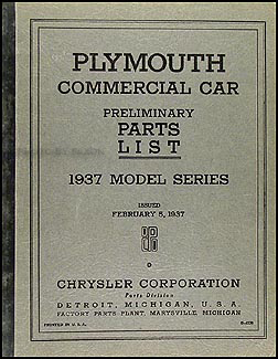 1937 Plymouth Truck & Station Wagon Parts Book