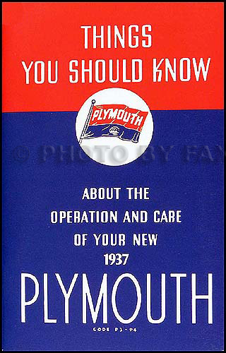 1937 Plymouth P3 and P4 Owners Manual Reprint