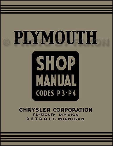 1937 Plymouth Shop Manual Reprint