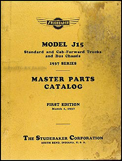 1937 Studebaker J15 Truck and Bus Master Parts Catalog Original