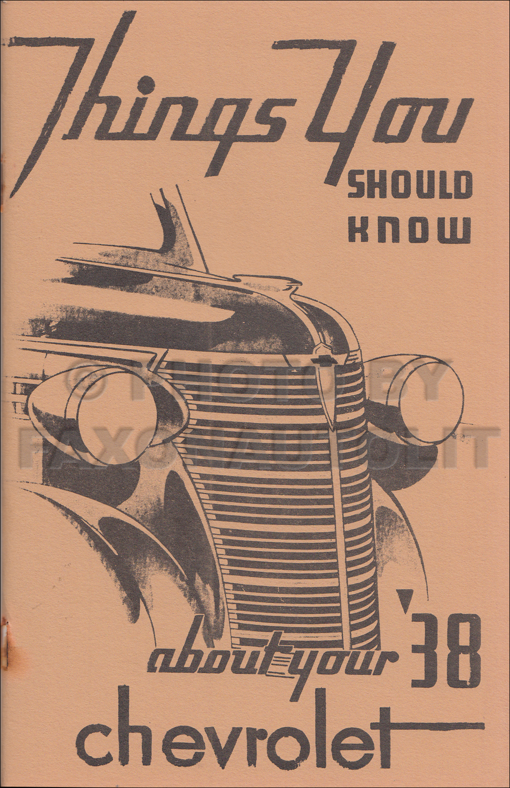 1938 Chevrolet Car Owner's Manual Reprint, older edition