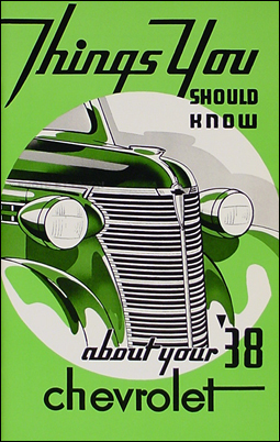 1938 Chevrolet Car Reprint Owner's Manual 38 Chevy