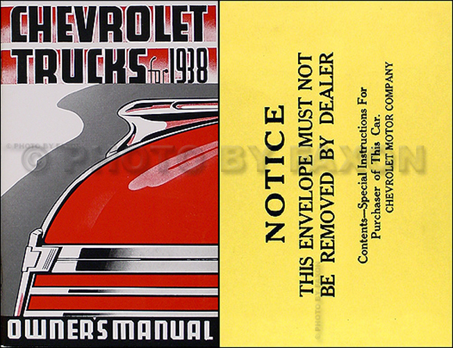 1938 Chevrolet Pickup and Truck Reprint Owner's Manual Package