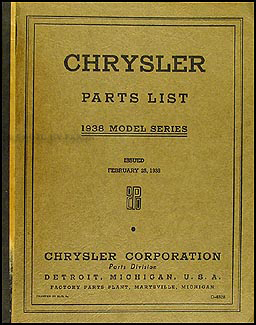 1938 Chrysler Parts Book Original