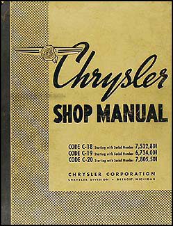 1938 Chrysler Shop Manual Original