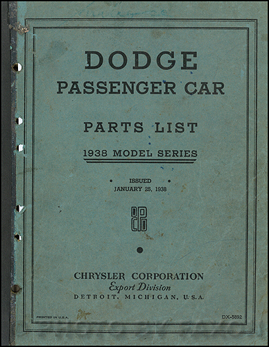 1938 Dodge Car Export Parts Book Original