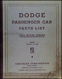 1938 Dodge Car Parts Book