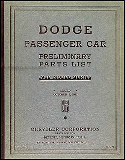 1938 Dodge Car Preliminary Parts Book Original