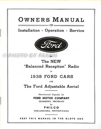 1938 Ford Radio Installation and Operating Instructions Manual Reprint