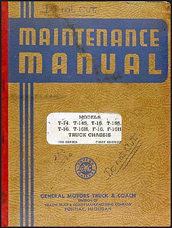 1938 GMC Pickup and Truck T14 T16  F14 F16 Repair Manual Original
