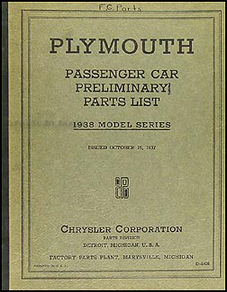 1938 Plymouth Car Preliminary Parts Book Original