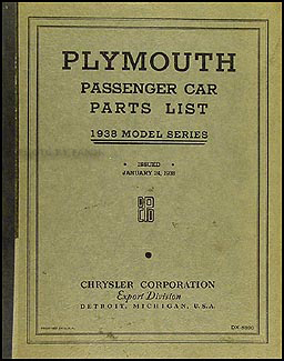 1938 Plymouth Car Parts Book Original