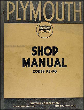 1938 Plymouth Shop Manual Original