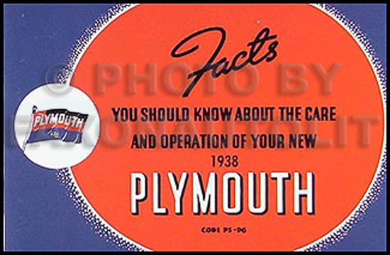 1938 Plymouth Owners Manual Reprint