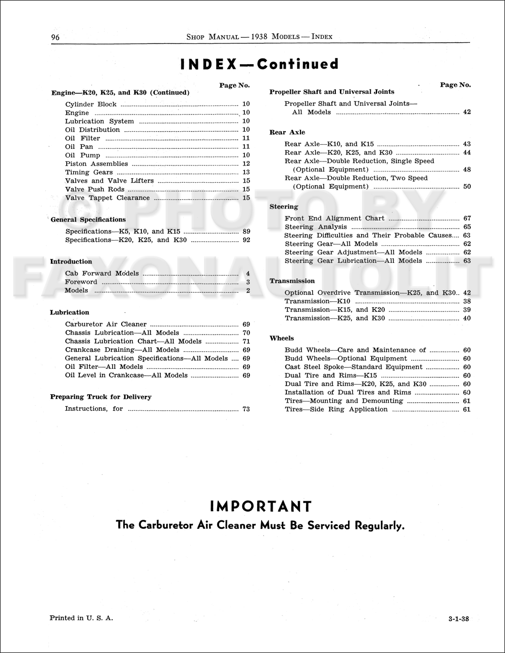 1938 studebaker bus  u0026 truck repair shop manual reprint