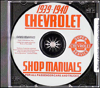 1939 1940 Chevrolet CD Shop Manual for car & truck Chevy