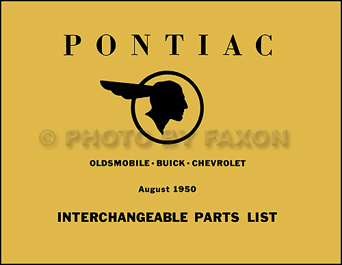 1939-1950 Pontiac Parts Interchange Book Reprint