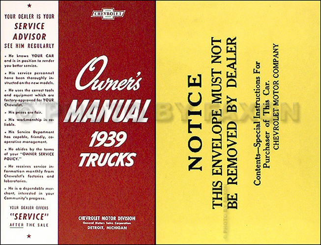 1939 Chevrolet Pickup and Truck Reprint Owner's Manual Package