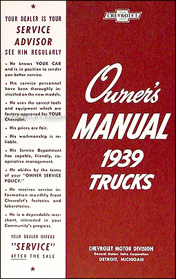 1939 Chevrolet Pickup & Truck Reprint Owner's Manual