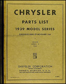 1939 Chrysler Parts Book Original