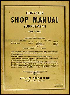 1939 Chrysler Shop Manual Original Supplement