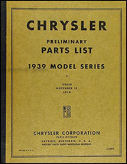 1939 Chrysler Preliminary Parts Book Original
