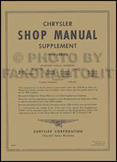 1939 Chrysler Shop Manual Reprint Supplement