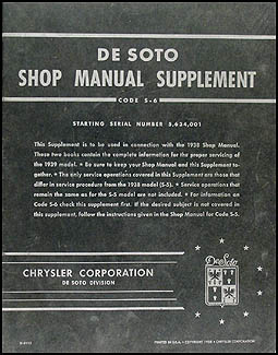 1939 De Soto Shop Manual Original Supplement